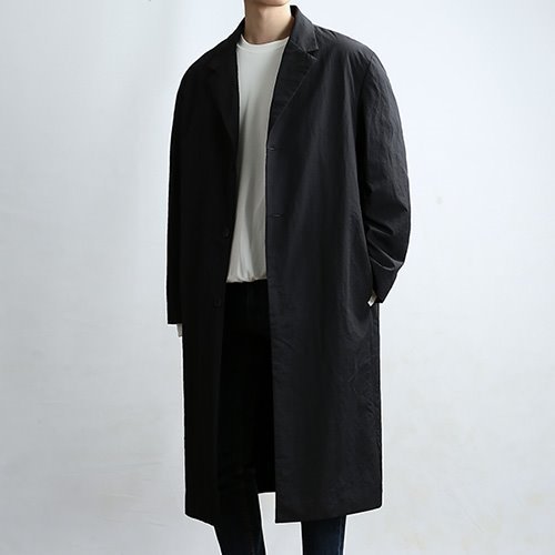WRINKLE SINGLE CRAFT COAT (BLACK)