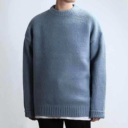 CRATER NECK KNIT (DOWN BLUE)
