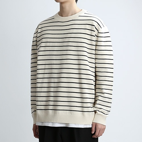 CREWMAN STRIPE KNIT (CREAM/BLK)