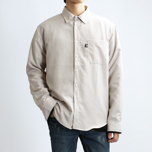 COLUMN STRIPE SHIRTS (SMOKE BEIGE)