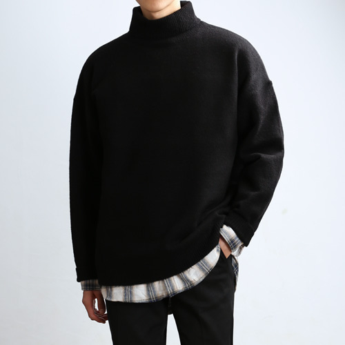 LAMBS LONG TURTLENECK (Black)