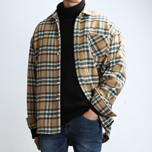 THICK WOOL CHECK SHIRTS (Beige/Green)