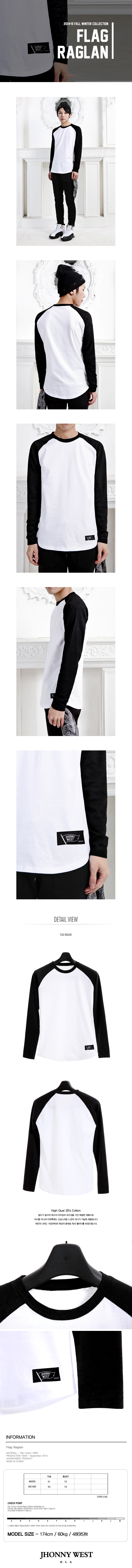 쟈니웨스트(JHONNY WEST) Flag Raglan (Black)